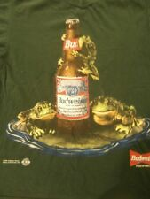 1996 Budweiser Frogs Jump On A Bud T-Shirt Green Size Large