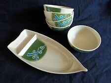 Japanese Melamine 5 Rice Bowls with Sushi Canoe Plate Shuang Ho Green
