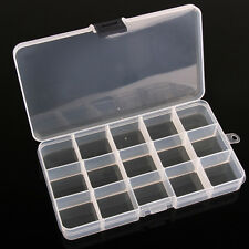 Adjustable 15 Slots Compartment Plastic Storage Box Jewelry Earring Container