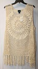 BEAUTIFUL NEW WOMENS PLUS SIZE 3X BOHO FRINGE CROCHET PULLOVER SHIRT TANK TOP