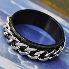 vintage Mens Black Stainless Steel Around Chain Band Ring Size 7.5