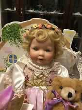 Ashton-Drake Beloved Little Goldilocks&Bear/Fine Porcelain Doll/Cradle