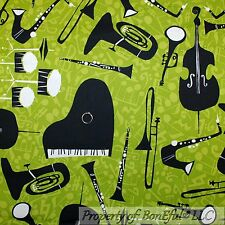 BonEful Fabric Cotton Quilt Green Music Instrument Note Flute Jazz Band FQ SCRAP