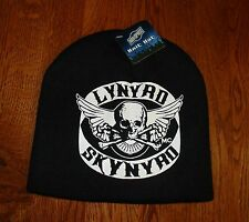 Lynard Skynyrd Black and White Skull Crossbones and Wings MC Beanie Cap Skully