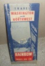 1951 RAINBOW Gasoline & Motor Oil-True's Oil Co Road Map WASHINGTON & Northwest