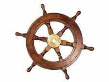 Wooden Nautical Ship Steering Wheel Pirate Decor Wood Brass Fishing Wall Boat