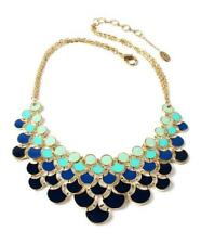 AMRITA SINGH Bib Necklace OMBRE Enamel TEAL/TURQUOISE/NAVY BLUE/BLACK~18k GP~NIB