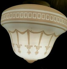 Art Deco Cameo Garland White and Tan Glass Ceiling Light Shade  Very Pretty