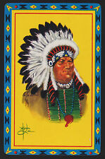 1 SINGLE VINTAGE SWAP PLAYING CARD NATIVE AMERICAN INDIAN CHIEF PIEL ART PI-5-5