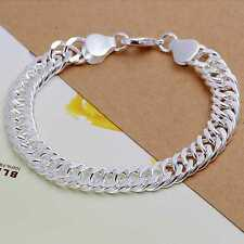 Mens Womens 925 Sterling Silver Plated Cuban Link Chain Bracelet Wristband BR122