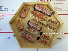 RAW SMOKERS BUNDLE HEXAGON ROLLING TRAY Tobacco Stash Box+Paper+Roller+Tips&more