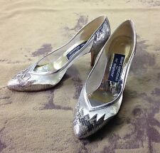 Vintage Stuart Weitzman Silver Snake Sheer Mesh High Heel Pumps Shoes 8.5 38.5