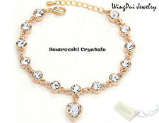NEW Made with Swarovski Heart White Crystal 18K Gold Plated Bracelet (New Tag)