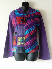 Fair Trade Gringo Stonewashed Purple Hippie Hoodie Zipped Jacket Small/Med (HD2)