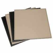 Reversible Flip 8 Placemats Black Taupe Square Faux Leather Table Mats Set
