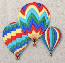 Iron On Embroidered Applique Patch Colorful Three Striped Hot Air Balloons