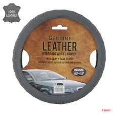 New BDK Genuine Gray Leather Car Truck Steering Wheel Cover - Medium Size