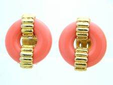 VTG KENNETH LANE Gold Tone Faux Coral Lucite Round Clip Earrings
