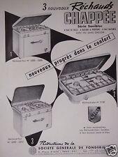 PUBLICITÉ 1953 CHAPPÉE 3 NOUVEAUX RÉCHAUDS SÉRIE SANIBLOC - ADVERTISING