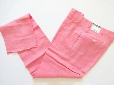 New Ralph Lauren Polo Italy 100% Flax Linen Pink Flat Front Dress Pants Slim 38