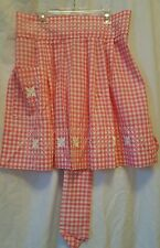 VINTAGE INSPIRED HOSTESS HALF APRON PINK & WHITE GINGHAM CROSS STITCH