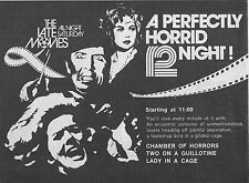 1977 TV AD~LATE NIGHT HORROR MOVIES~CHAMBER OF HORRORS~LADY IN A CAGE