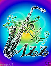Jazz  Music Poster/Print/Saxophone Musical Notes/Illustrated/17x22 inch