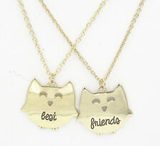 Adorable New Gold Tone Owl Best Friend Necklaces Set #N2252