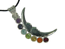 BUTW Silver Crescent Moon Chakra Amulet Gemstone Accents Pendant Necklace 3353D