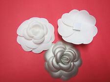 1 x new Chanel  SILVER  Camellia FLOWER + 2 x WHITE  for making a pin or brooch