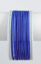 Bellydance14 Bangle Bracelets Slip-on BLUE/WHITE Slim Design Large Size India