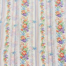 Polyester Dressmaking Fabric Pastel Floral Stripe Sewing Remnant  NOS