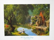 "Paul Detlefsen Art ""Good Old Days"" Boys Fishing Old Mill Waterwheel Vintage MINT"