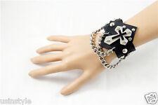 Fashion Punk Rock Gothic Style Leather Wristband Chopper Cross Bracelet Unisex