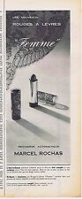 """PUBLICITE ADVERTISING 015 1956 MARCEL ROCHAS rouges à lèvres """"Femme"""""""