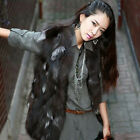 Women 100% Real Farm Fox Fur Vest Waistcoat Coat Jacket Sleeveless Gilet Fancy