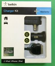 BELKIN IPOD IPHONE IPAD CHARGER KIT 2.1 AMP 3 FEET CHARGER FOR HOME AND CAR