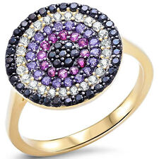 Evil Eye Design Ring Round Multicolored Simulated Stone Sterlign Yellow Tone