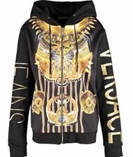 VERSACE JEANS BLACK & GOLD PRINT HOODY WITH FRONT ZIP SIZES UK S,M