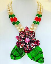 LAWRENCE VRBA Stunning  Bright Rose Crystal Art Glass Flower Necklace/Pin