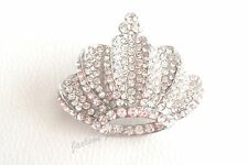 Vintage Silver Styled VICTORIOUS CROWN BROOCH / PIN with Rhinestones