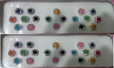 36 multi Round Style Colored Bindis Studded With Rhinestones/Indian  Bindis