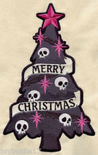 SKULL CHRISTMAS TREE UNIQUE SET OF 2 HAND TOWEL EMBROIDERED NEW by laura