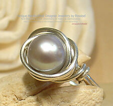STUNNING FRESHWATER PEARL 925 SILVER RING - SIZE P - 7 1/2  ~All Sizes