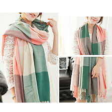 New Women Pretty Long Winter Soft Cashmere Tassel Plaid Scarf Wrap Shawl Scarves