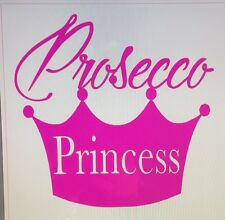 "Vinyl Decal Sticker Wine Glass  ""Prosecco Princess "" 4 Decals"