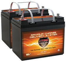 2 Invacare Cat VMAX857 12V 35Ah Group U1 AGM Deep Cycle Scooter Battery