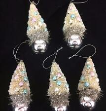 Bottlebrush Christmas Tree Pastel Ball Ornaments Snow Retro Set 5 Twos Company