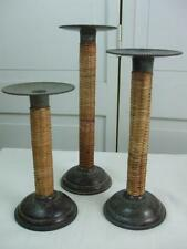 Set 3 Tall Candlesticks Candle Holders Wicker Bamboo with Metal Design Round