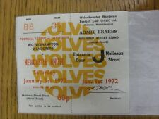 01/01/1972 Ticket: Wolverhampton Wanderers v Newcastle United (Complete Ticket).